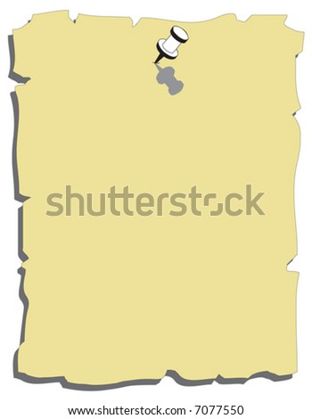 Yellow note paper with black pushpin - stock vector