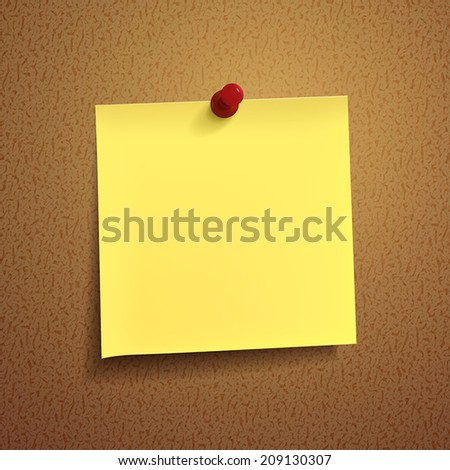 yellow note paper with pin on white background - stock vector