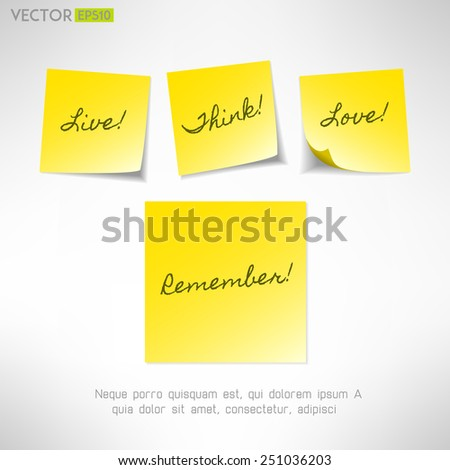 Yellow note sticker with message. Paper reminder. Vector illustration - stock vector