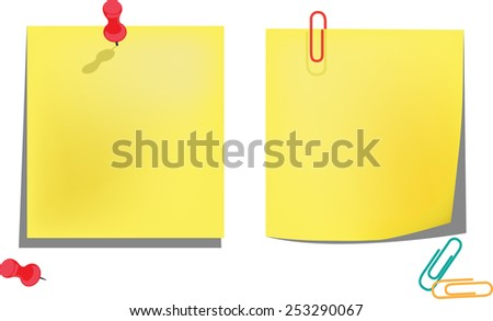 Yellow notice papers isolated on white. Vector illustration - stock vector