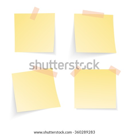 Yellow notice papers isolated on white. Vector illustration.  - stock vector