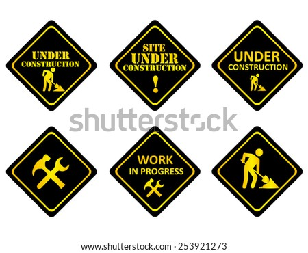 Yellow on black graphics signs or icons indicating a website is under constructions or in development. - stock vector