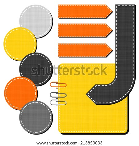 yellow orange gray arrow round rectangular sewed shapes speech patterned elements for infographic with clips isolated on white background  - stock vector
