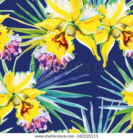 Yellow orchids with green palm leaves on the dark blue background. Watercolor seamless pattern with tropical flowers.  - stock vector