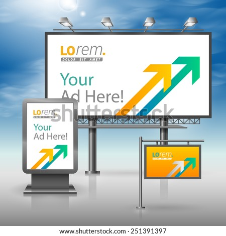 Yellow outdoor advertising design for corporate identity with white and green arrows. Stationery set - stock vector