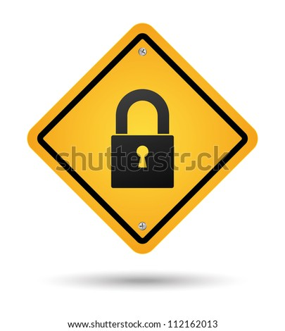 yellow padlock road sign for security - stock vector