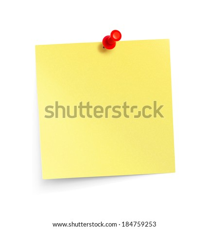 Yellow paper note with red pin isolated on white background. Vector illustration. Realistic - stock vector