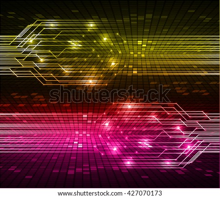 yellow pink high tech circuit board, abstract circuit board, Circuit board background, digital circuit, cyber circuit technology. - stock vector