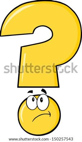 Yellow Question Mark Cartoon Character Thinking - stock vector