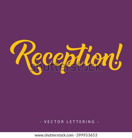 Yellow Reception Inscription - stock vector