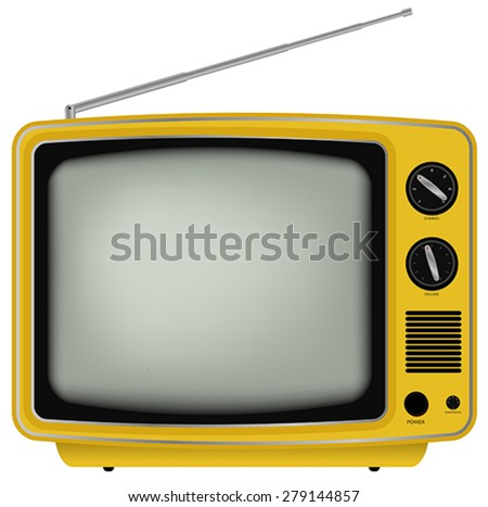 Yellow Retro TV - Illustration of Old Television Isolated on White Background - stock vector