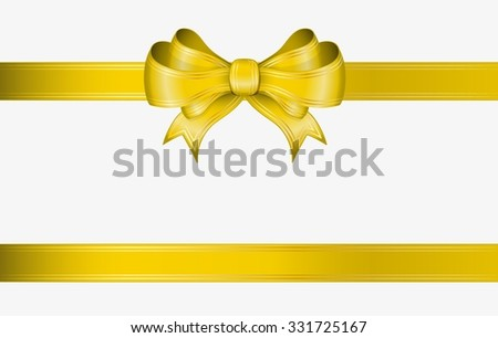 yellow ribbon and elegant bow with gold lines - stock vector