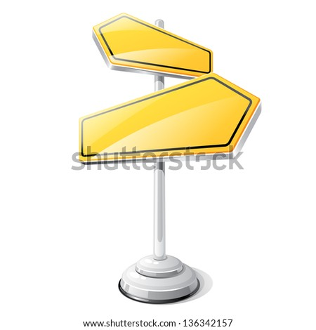Yellow road sign isolated design template. - stock vector