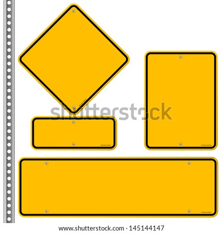 Yellow Roadsigns Set - stock vector