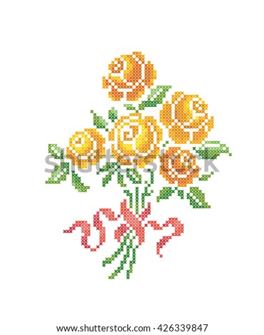 Yellow roses. Bouquet of flowers. Cross stitch. Scheme of knitting and embroidery. Vector. - stock vector