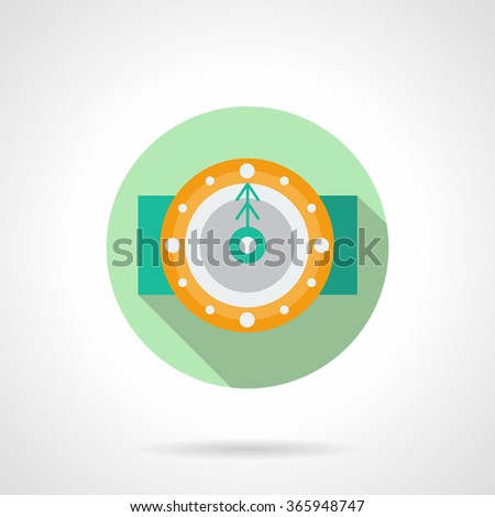 Yellow round classic wall clock with green fir arrow. Midnight. Winter holidays time. Green round flat vector icon with long shadow. Element for web design, business, mobile app. - stock vector