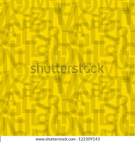 Yellow seamless letters pattern. - stock vector