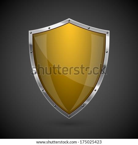 Yellow shield icon - eps10 - stock vector