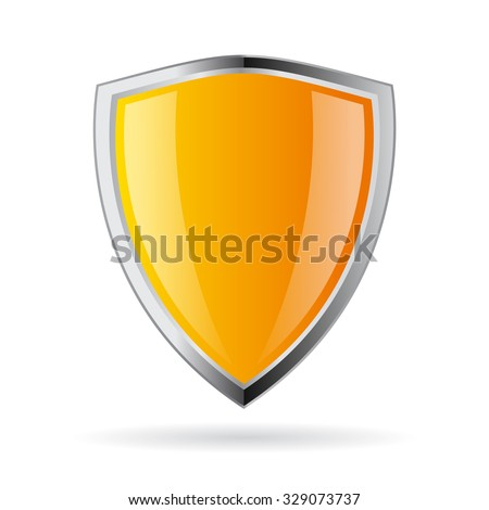Yellow shield icon isolated on white background - stock vector