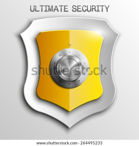 Yellow shield with Combination Lock isolated on white background. Security vector sign  - stock vector