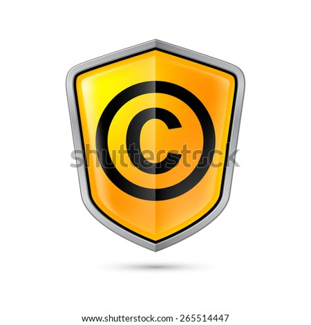 Yellow shield with copyright sign on a white background - stock vector