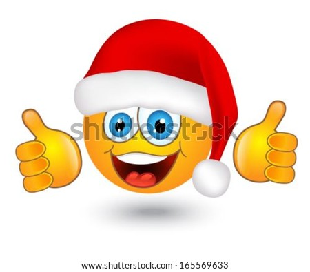 yellow shiny round emotion in Santa hat on white background  - stock vector