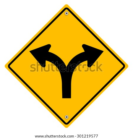 Yellow sign with arrows. Vector art. - stock vector