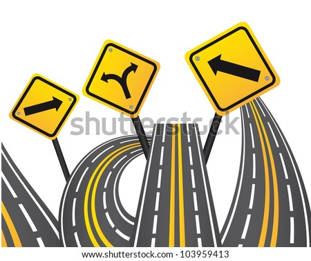 yellow  signs with streets over white background. vector illustration - stock vector