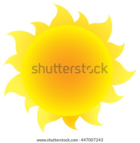 Yellow Silhouette Sun With Gradient. Vector Illustration Isolated On White Background - stock vector
