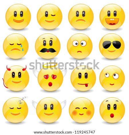 Yellow Faces Emotions Yellow smiley balls with