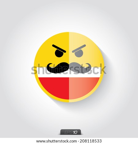 Yellow smiley on gray background, facial expression - stock vector