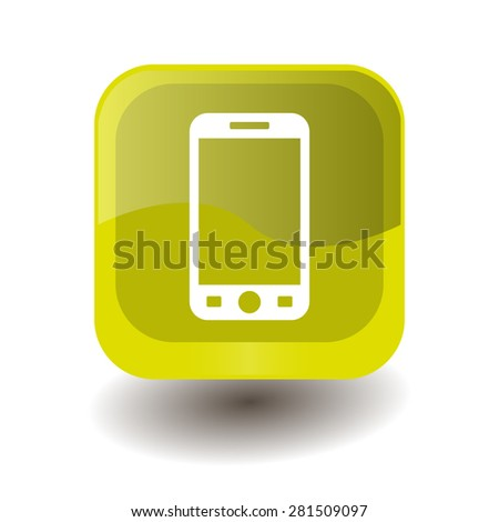 Yellow square button with white smartphone sign, vector design for website  - stock vector