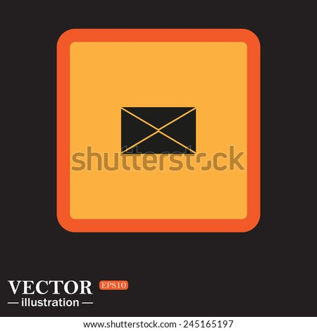 Yellow square on a black background, envelope lette , vector illustration, EPS 10 - stock vector