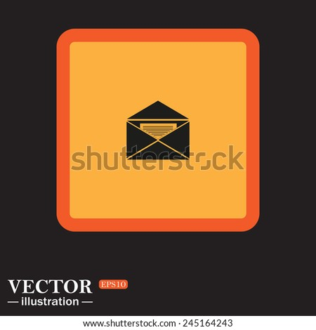 Yellow square on a black background, open envelope with a letter, vector, EPS 10 - stock vector