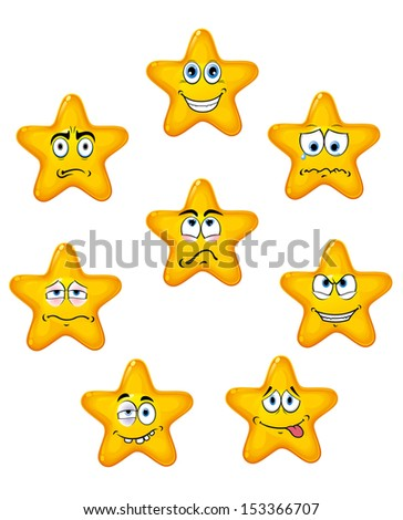 Yellow star icons with different emotions in cartoon style or idea of logo. Jpeg version also available in gallery - stock vector