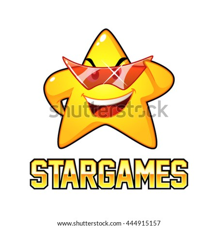 Yellow Star With Red Eyeglasses Mascot Character. Suitable for toy store, games, and kids playground. - stock vector