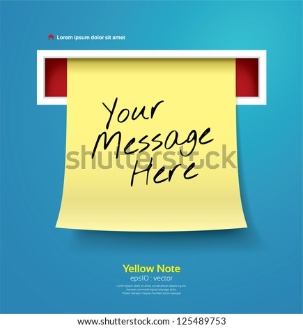 Yellow stick note vector illustration - stock vector