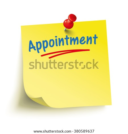 Yellow stick with red pin and text Appointment. Eps 10 vector file. - stock vector