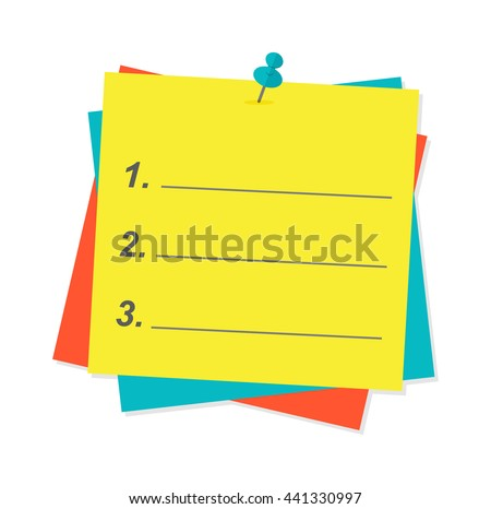 Yellow sticky note isolated on white background vector illustration. Message office paper yellow note. Yellow note sheet sticky business paper blank note paper. Adhesive notice announcement reminder. - stock vector