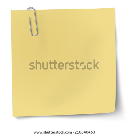 Yellow sticky note with paper clip - stock vector