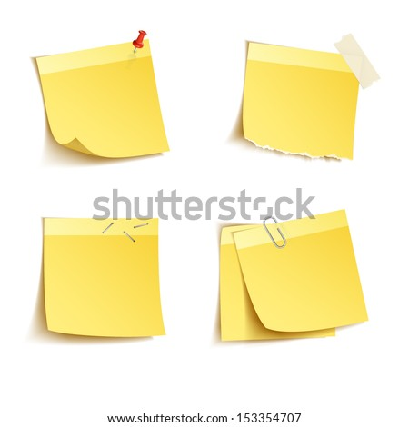 Yellow sticky notes with push pin and clip isolated on white background - stock vector