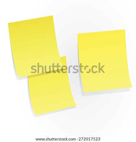 Yellow sticky papers on white background vector illustration. - stock vector