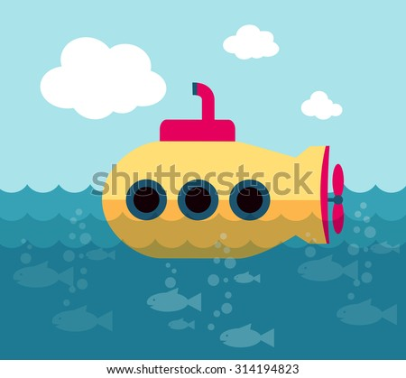 Yellow submarine swimming in the ocean (vector illustration, flat conception) - stock vector