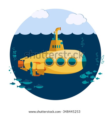 Yellow Submarine undersea, submarine with fishes in sea, Submarine periscope Flat design. Submarine Vector image, Submarine concept web icon - stock vector