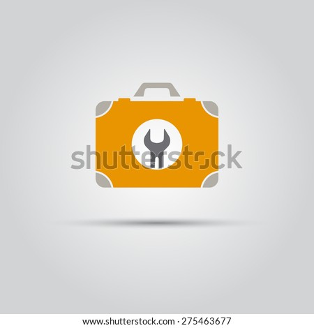 Yellow suitcase with tools on which painted a wrench isolated vector flat colored icon - stock vector