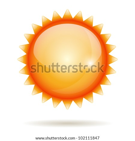 Yellow sun vector glossy label isolated on white. - stock vector