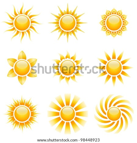 Yellow sun vector icons isolated on white background. - stock vector