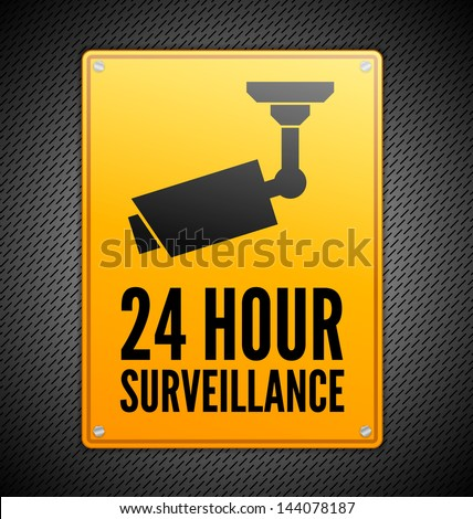 Yellow Surveillance sign on steel background - stock vector