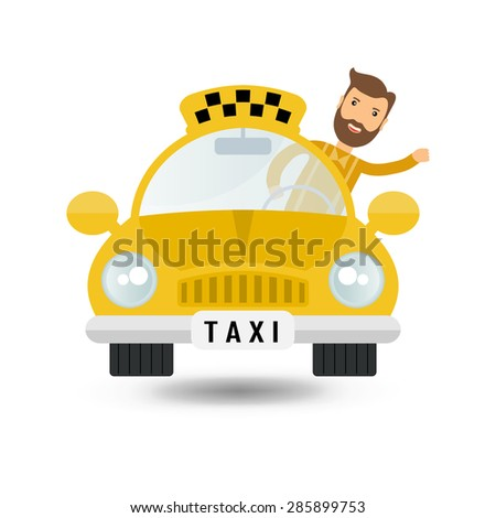 yellow taxi car and taxi driver - vector icon - stock vector