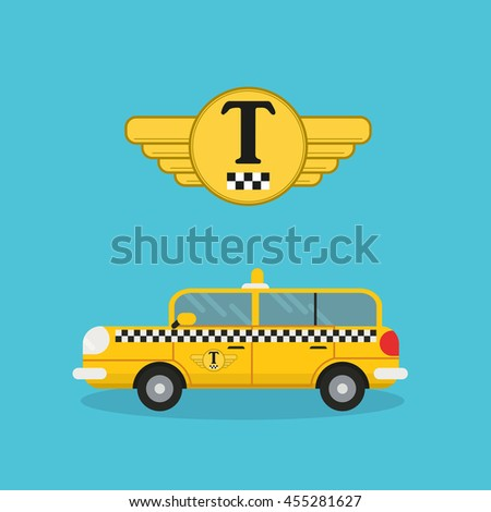 yellow taxi car in flat style and logo of a taxi company tamplate - vector icon on light blue background - stock vector